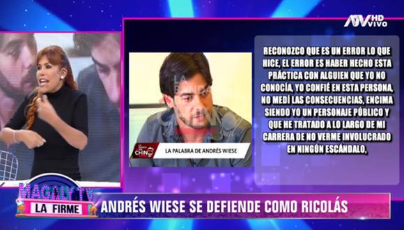 """Magaly Medina y su respuesta a Andrés Wiese: """"Está haciéndose la víctima"""". (Foto: Captura)"""