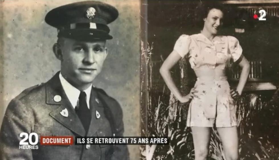 Kara Troy Robbins, un soldado estadounidense yJeannine Ganaye , una joven francesa revivieron su romance 75 años después. (France 2)