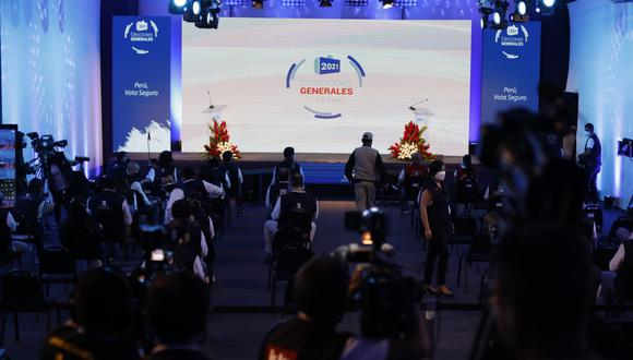 La ONPE brindó los primeros resultados de las Elecciones 2021. (Foto: César Bueno / @photo.gec)