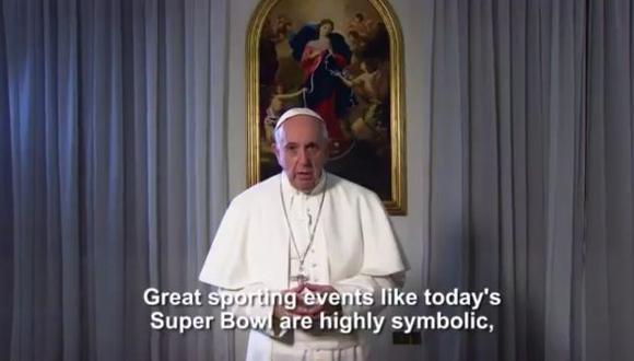 """""""Que el Superbowl de este año sea un símbolo de paz, de amistad"""", dijo el Papa Francisco. (Twitter Super Bowl)"""