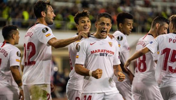 Javier 'Chicharito' Hernández anotó su primer gol con camiseta de Sevilla. (Foto: Sevilla)