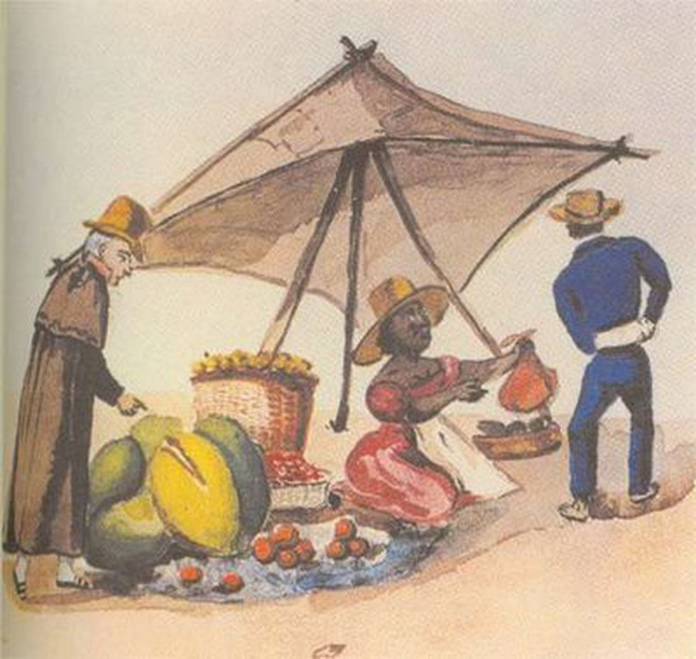 En las calles de Lima había animales, suciedad, venta ambulatoria, etc. (Cuadro de Pancho Fierro)