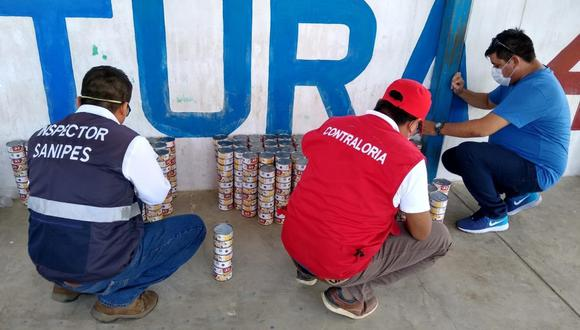 En un primer desembolso se pagó a la proveedora S/ 72 825.00 por 437 sacos de arroz y 130 cajas de conservas grated de Jurel no aptos para el consumo humano. (Foto: Contraloría)