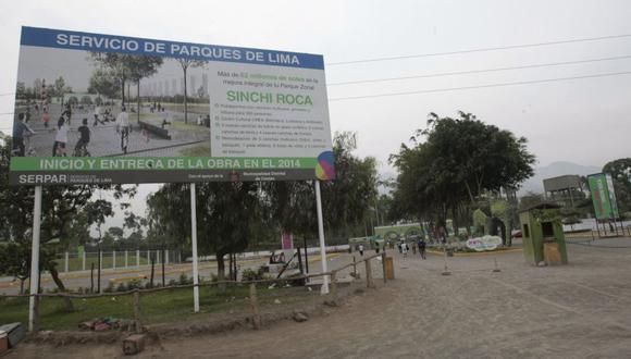 En el parque zonal, ahora llamado club zonal, Sinchi Roca debía construirse un CREA, pero las obras están paralizadas y la gestión de Luis Castañeda Lossio no informa sobre el estado actual de los proyectos. (El    Comercio)