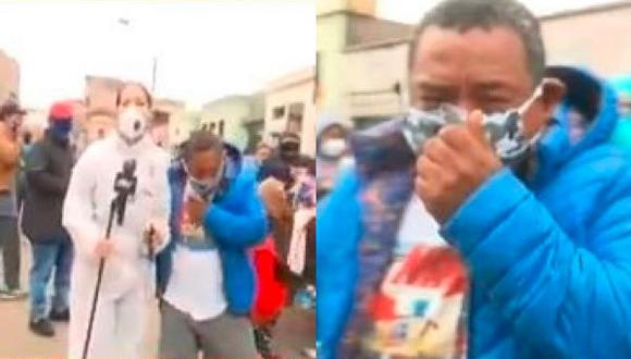 Ocurrió en La Victoria cuando periodista hacía su despacho en vivo. (Captura/ATV)