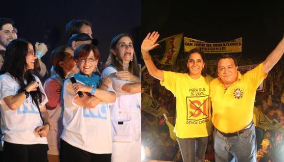 En la plaza San Martín y en San Juan de Lurigancho, ambos grupos cerraron sus campañas con sendos mítines. (Martín Pauca)