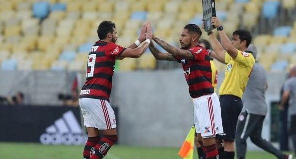 Paolo Guerrero reemplazó a Henrique Dourado en la recepción de Flamengo a Palmeiras por el Brasileirao. (@Flamengo)