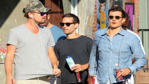 Leonardo DiCaprio, Orlando Bloom y Tobey Maguire pasearon juntos por Nueva York (People)
