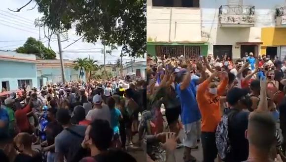 Cientos de cubanos arengando en contra del Gobierno. (Foto: captura de pantalla | Twitter)