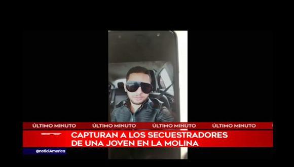 Cuatros sujetos, presuntos implicados en el secuestro frustrado de una joven universitaria en La Molina, fueron detenidos por la Policía en Lince. (Foto: Captura América Noticias)