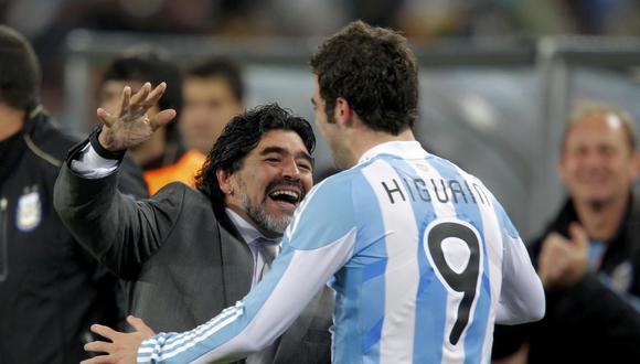 Maradona optó por Higuaín durante su participación como seleccionador de Argentina en Sudáfrica 2010. (REUTERS)