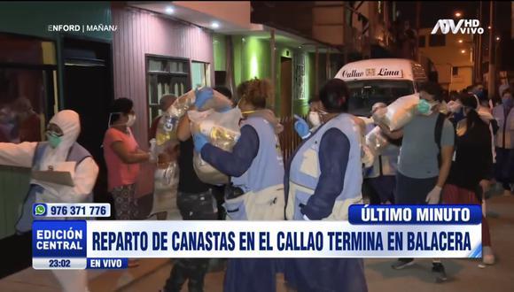 Balacera en el Callao durante entrega de canastas. (Captura)