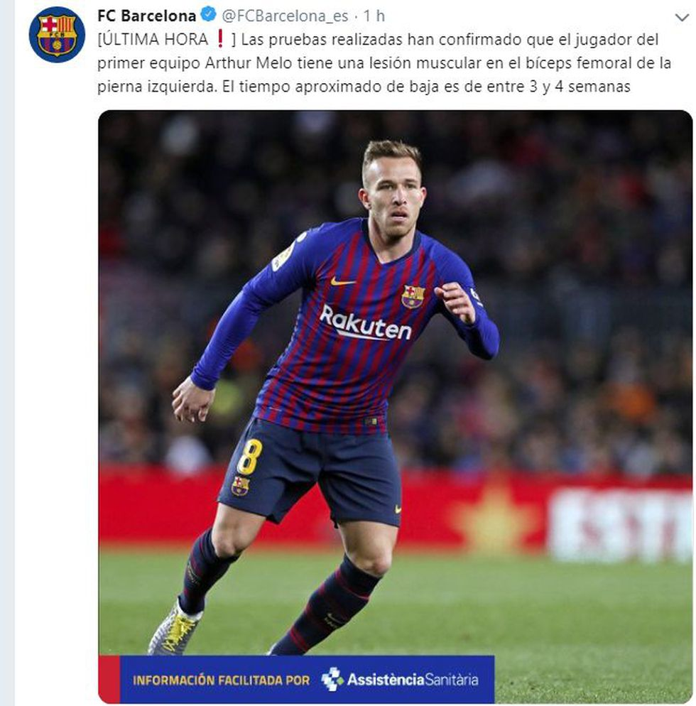 Arthur Melo será baja por un mes aproximadamente. (Captura FC Barcelona)