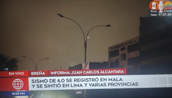 El alumbrado público perdió energía en Breña. (Captura: América TV)