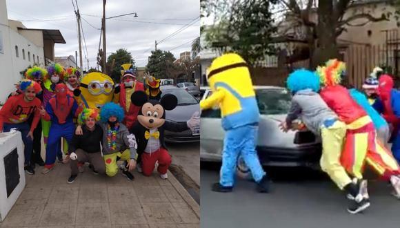 Un video viral muestra el noble gesto que tuvo un grupo de jóvenes disfrazados con un automovilista en apuros.   Crédito: @matias_copetti / Twitter.