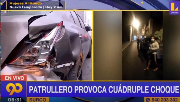 Accidente perjudicó a cuatro vehículos estacionados a lo largo del Jr. Bolognesi, en Surco. Foto: captura