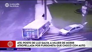 Ate: poste de luz salva de milagro a mujer luego de que furgoneta chocara con auto