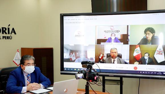 Reunión sostenida ayer con los titulares Jurado Nacional de Elecciones (JNE), de la Oficina Nacional de Procesos Electorales (ONPE), y del Registro Nacional de Identificación y Estado Civil (Reniec). (Foto: contraloría)