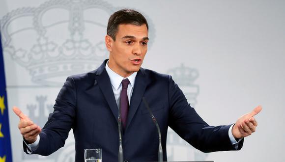 El presidente de España, Pedro Sánchez, durante su comparecencia este viernes en el Palacio de la Moncloa para hacer una declaración institucional. (Foto: EFE)