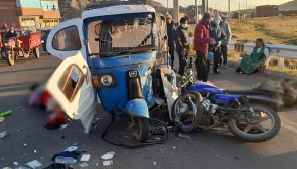 Puno: Tres militares heridos tras violento choque contra mototaxi que habría invadido carril (Foto: PNP)