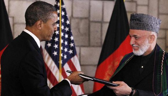 Obama y Karzai en el palacio presidencial de Kabul. (AP)