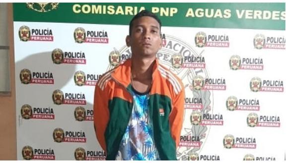El sujeto fue capturado por las calles del distrito de Aguas Verdes cuando intentaba escapar de los agentes de la Policía Nacional (Foto: PNP)