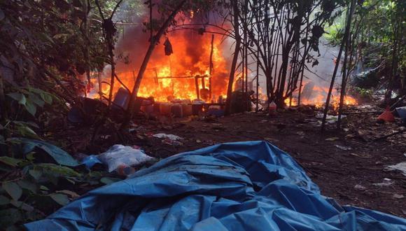 Junín: Las Fuerzas Armadas y la Policía Nacional destruyeron cinco laboratorios clandestinos de droga en el centro poblado San Juan de Mantaro del distrito de Vizcatán del Ene de la provincia de Satipo. (Foto: FF.AA)