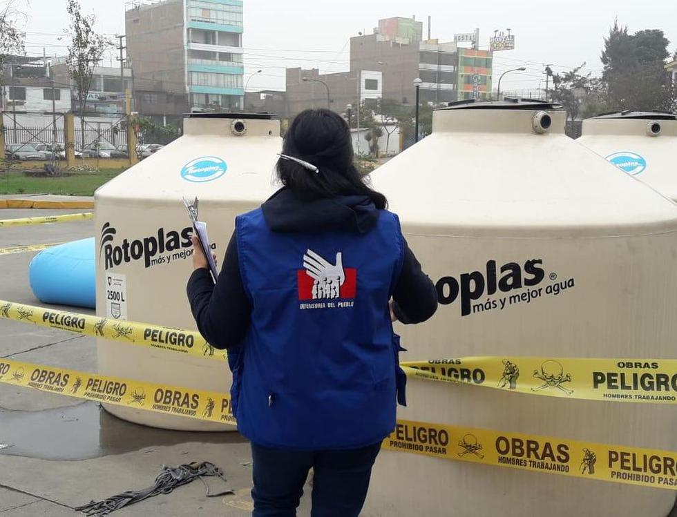 La institución informó que en San Luis se detectó la ausencia de estos camiones de cisternas y del personal de la municipalidad. (Foto: Defensoría del Pueblo)