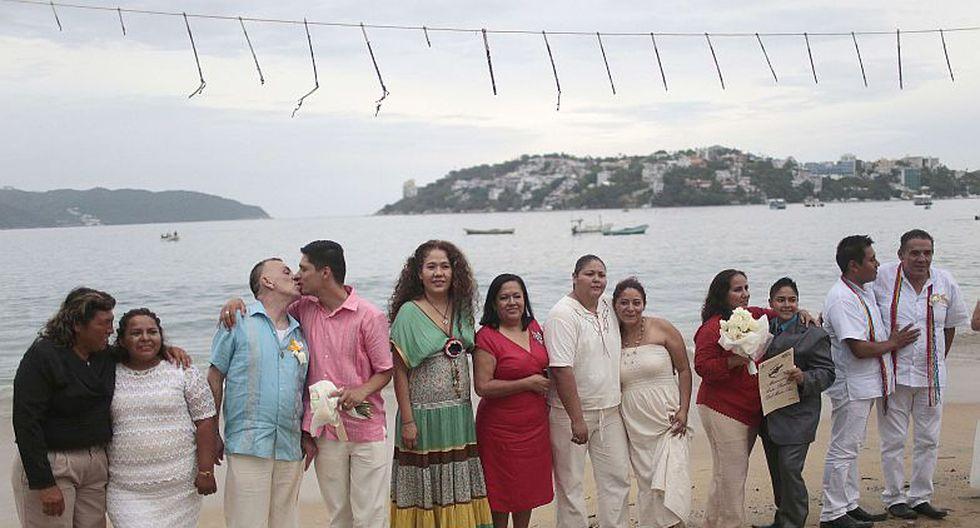 20 parejas homosexuales se casaron el pasado viernes en Acapulco. (AFP)