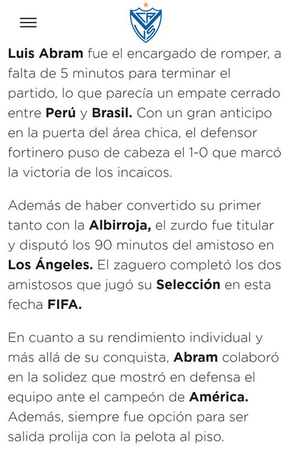 Luis Abram anotó el gol de la victoria de Perú ante Brasil y así reaccionó Vélez Sarsfield.