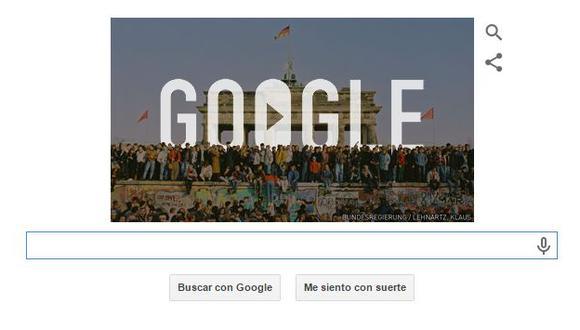 Muro de Berlín: Google recordó hoy el 25 aniversario de su caída. (Google)