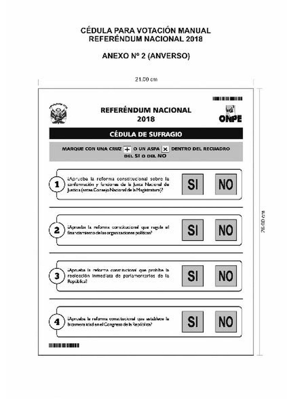 Esta es la cédula de sufragio manual del Referéndum Nacional 2018.