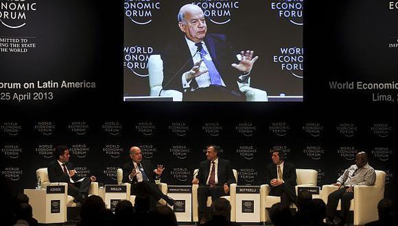 Insulza durante su participación en el WEF Latam. (AFP)