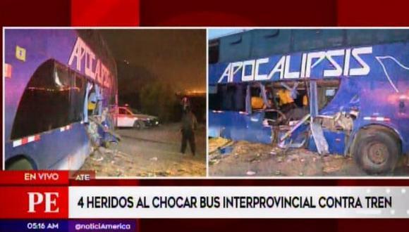 Al menos 4 heridos dejó el choque entre un bus interprovincial de la empresa Apocalipsis y un tren en la vía ferroviaria Santa Clara, en Ate Vitarte. (Video: América TV)