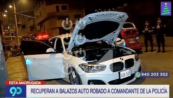 Agentes recuperaron un moderno BMW que fue robado a un comandante de la institución. (Captura: Latina)