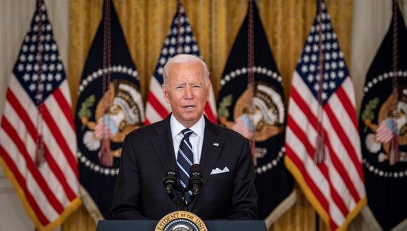 El presidente de Estados Unidos, Joe Biden, habla en el East Room de la Casa Blanca, en Washington, DC, el 18 de agosto de 2021. (EFE / EPA / Pete Marovich).