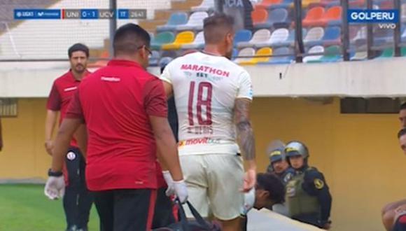 Germán Denis, delantero de Universitario de Deportes, sale de campo lesionado. (Video: Gol Perú)