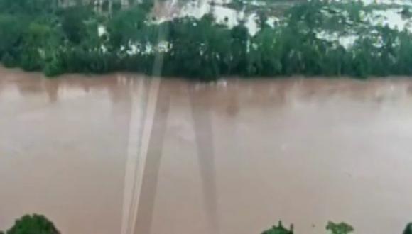 Pasco: desborde de rio ocasiona inundación en distrito de Puerto Bermúdez (Foto: captura pantalla Canal N)