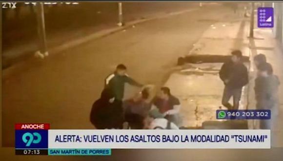El asalto tsunami ocurrió en la cuadra 38 de la avenida Universitaria, en San Martín de Porres. (Latina)