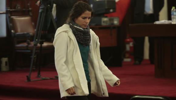 GRITÓ SU INOCENCIA. En cinco minutos, Eva Bracamonte negó que hubiera ordenado matar a su progenitora. (César Fajardo)