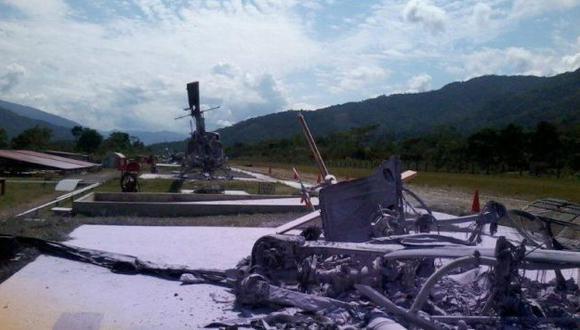 Dos de los tres helicópteros siniestrados por las hordas senderistas de 'Gabriel' que amenazan seriamente el proyecto gasífero. (TGP)