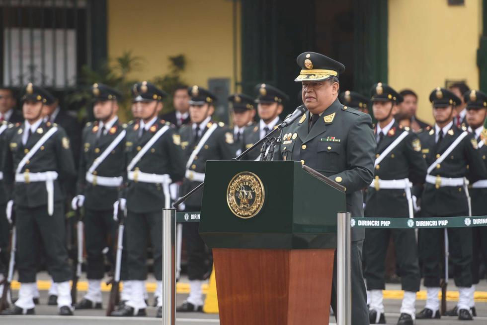 El general PNP Juan Sotil, jefe de la Dirincri, informó los logros de esta unidad durante la ceremonia del 34° aniversario.