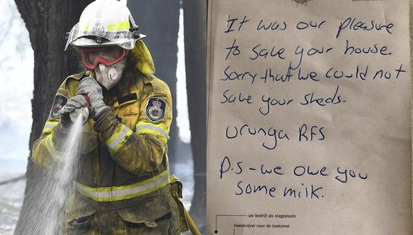 """""""Fue un placer"""": la emotiva nota dejada por bomberos australianos al dueño de una casa que salvaron de los incendios forestales. (AFP   Facebook)"""