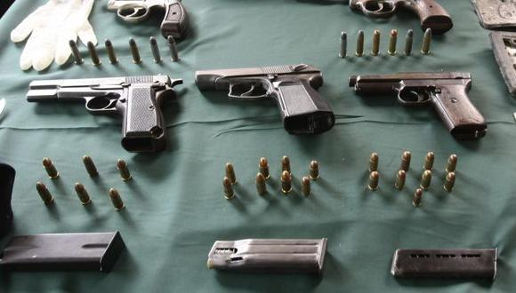Pistolas como estas son alquiladas o compradas por bandas organizadas de Trujillo. (Perú21)