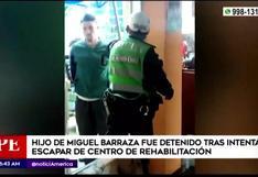 Hijo de Miguel Barraza fue intervenido tras intentar escapar de centro de rehabilitación