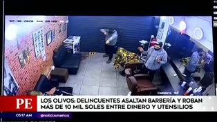Los Olivos: delincuentes asaltan barbería y roban piezas valorizadas en 10 mil soles