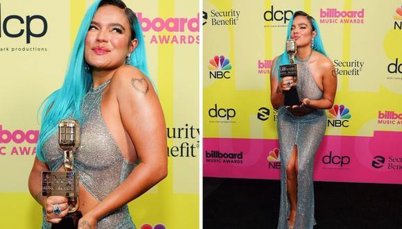 Karol G lució un vestido transparente y ganó como mejor artista latina. (Foto: Instagram @karolg)