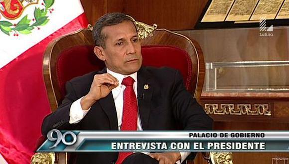 Ollanta Humala respaldó las explicaciones del premier Pedro Cateriano. (Captura)