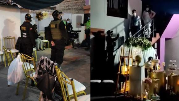 Arequipa. Novios fueron conminados por los agentes del orden a acompañarlos a la comisaría de Hunter, luego que vecinos denunciaran que organizaron fiesta pese a restricciones por la pandemia del COVID-19. (Fotos: Facebook/Wayra TV)