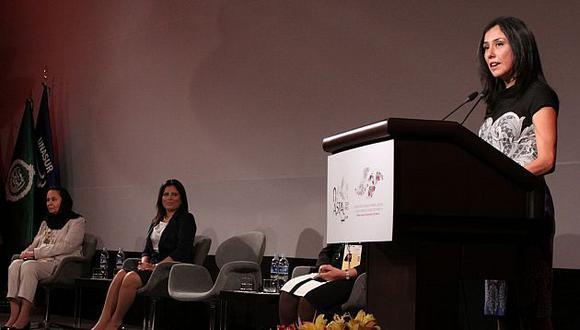 Nadine Heredia inauguró la Cumbre ASPA de mujeres en un hotel miraflorino. (Andina)